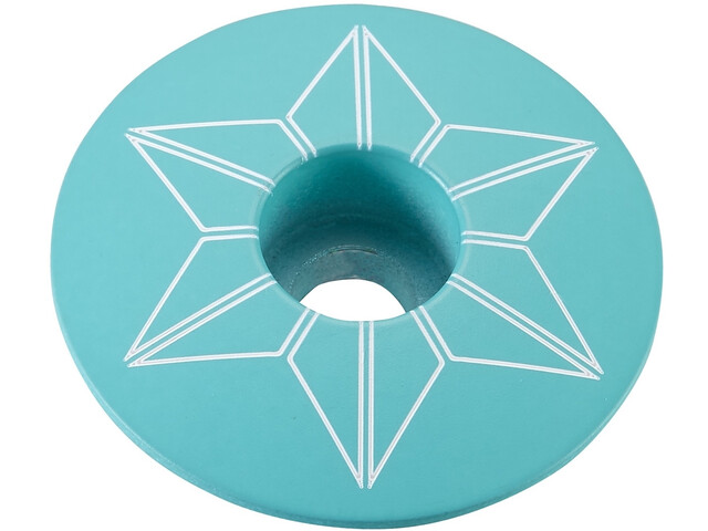 Supacaz Star Capz Ahead-Kappe pulverbeschichtet himmelblau